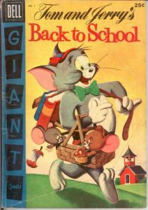 TOM & JERRY BACK TO SCHOOL (1956) 1 GOOD Dell giant COMICS BOOK