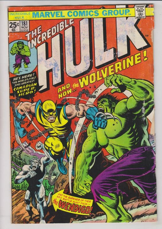 the Incredible Hulk #181 marvel comics - 1st wolverine - with stamp