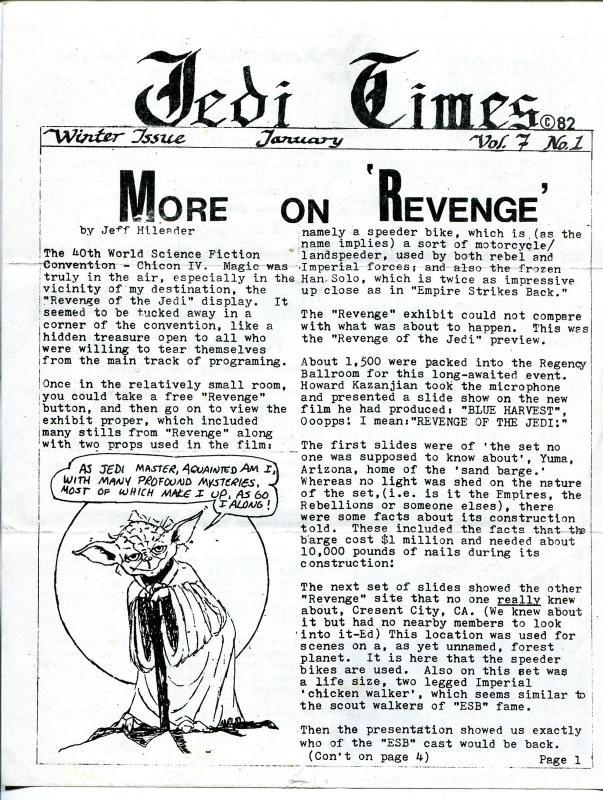 Jedi Times Vol. 7 #1  1/1983-rare Star Wars Fanzine-newsletter format-VG
