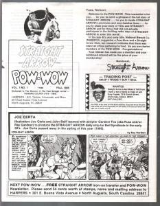 Straight Arrow Pow-Wow Fan Club Newsletters #1 1986-cover pages-secret cave ring