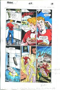 Robin Comics #63 Page 13 Hand Painted Cover Color Guide-comic book art-Flash-VG