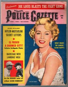 Police Gazette 6/1957-Zsasa Gabor-Hitler-Mussolini-exploitation-VG