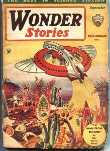 WONDER STORIES-1934 SEPT-FRANK R PAUL FLYING SAUCER COVER-SCI FI PULP