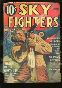 SKY FIGHTERS 3/1941-AIR WAR PULP-THRILLS-PISTOL-WWII -RAF PILOT-good