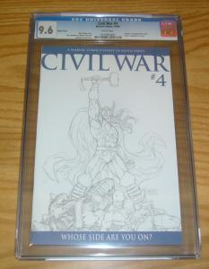 Civil War #4 CGC 9.6 mark millar - avengers - michael turner 1:75 sketch variant