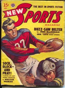 New Sports 12/1948-John D MacDonald-football action cover-VG+