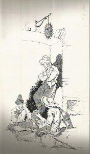 DIBUJO 3658: BANDOLEROS JUGANDO A CARTAS. Boceto en tinta negra