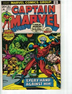 Captain Marvel #25 VG thanos - hulk - namor - jim starlin bronze age marvel 1973