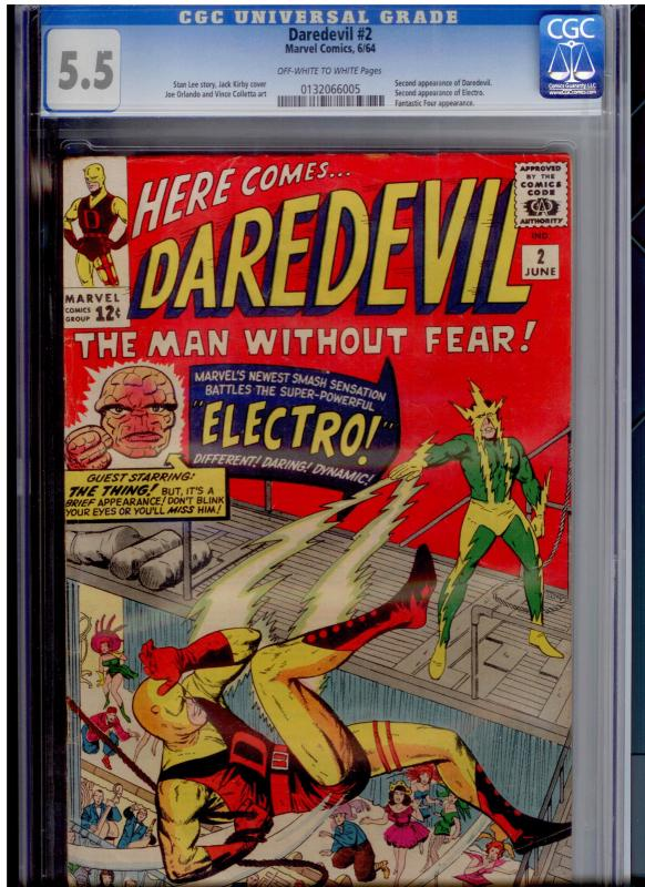 Daredevil #2 CGC 5.5 OW/W   2nd DD app; 2nd Electro app; FF cameo