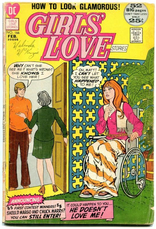 Girls' Love Stories #166 1972- Wheelchair cover- DC Romance G