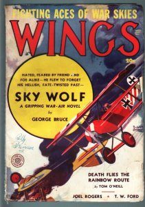 WINGS SRRNG 1938-SKY WOLF BY GEORGE BRUCE-AVIATION PULP VG