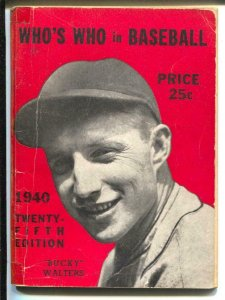 Who's Who In Baseball 1940-Bucky Walters-player stats-VG-