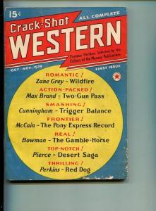 CRACK SHOT WESTERN-#1-OCT 1939-WESTERN-PULP-SOUTHERN STATES PEDIGREE-vg