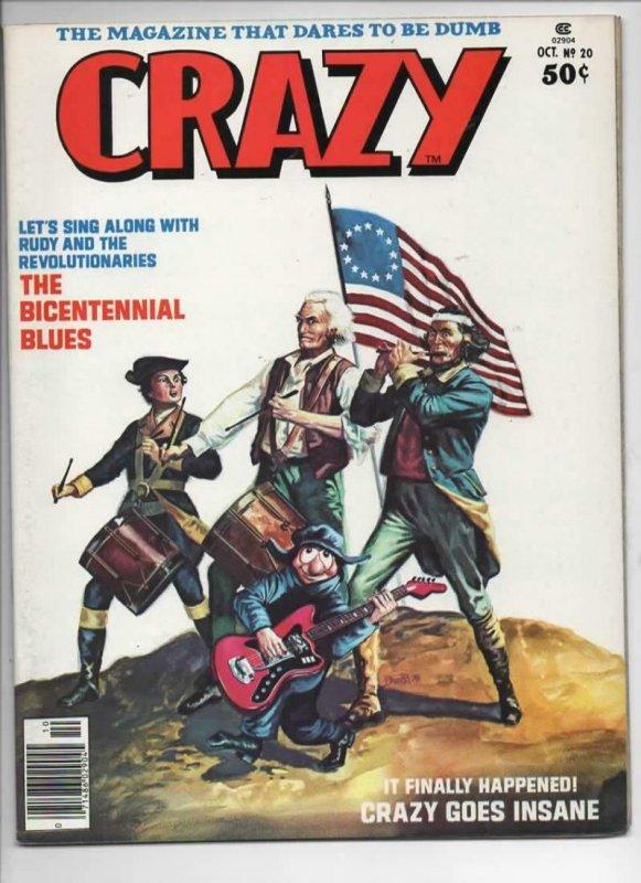 CRAZY #20 Magazine, VF, Bicentennial, Satire, 1973 1976, more in store