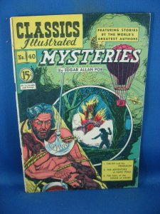 CLASSICS ILLUSTRATED 40 VG+ MYSTERIES HRN 75 CAN ED 1950