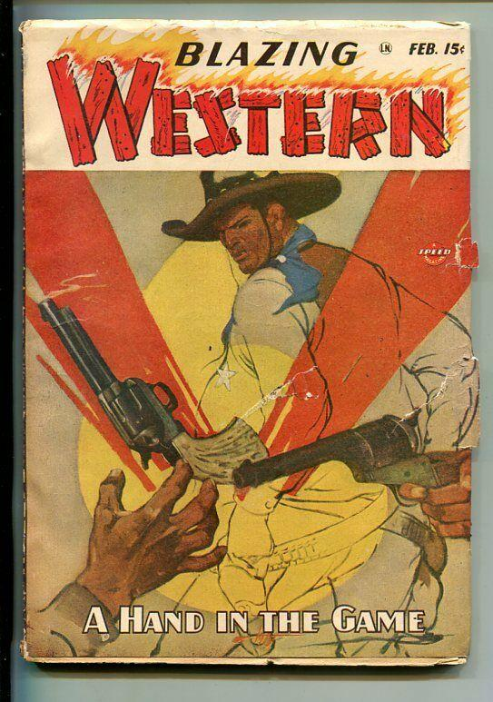 BLAZING WESTERN-#1-FEB1947-PULP-SCOTT COVER-SOUTHERN STATES PEDIGREE-vg