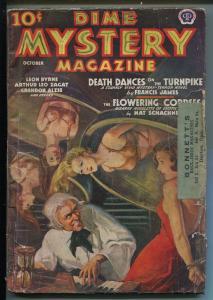 DIME MYSTERY 10/1938-BOUND BABES-SPICY INTERIOR ART-PULP HORROR-good minus