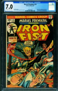 Marvel Premiere #15 CGC 7.0 First Appearance of IRON FIST comic book 2030201001