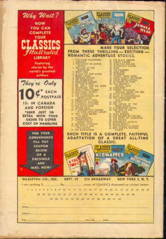 Classics Illustrated #63 (Sep-49) VG Affordable-Grade