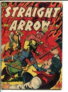 STRAIGHT ARROW-#8-1950-FLAMING INDIAN FIGHT COVER-POWELL AND GUARDINEER ART-vg