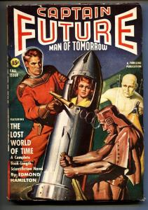 Captain Future Fall 1941-Earle Bergey woman in rocket cover-Pulp Magazine