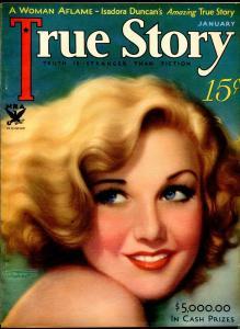 True Story 1/1934-MacFadden-Isadora Duncan-Greta Garbo-pulp thrills-Tchetchet-VF