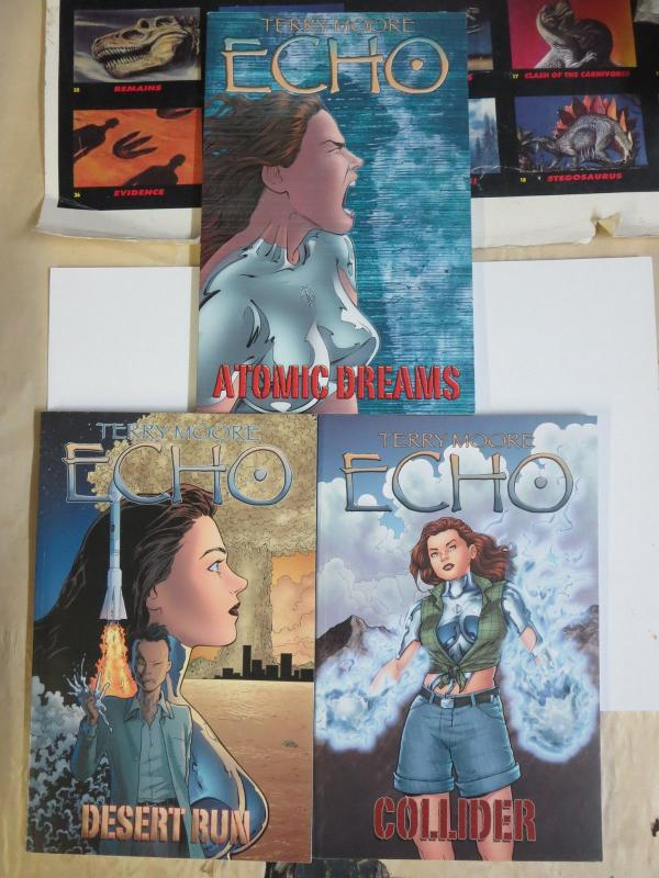Echo by Terry Moore (Abstract) Books #2-4 Lot Liquid Metal Super-Heroine Signed!
