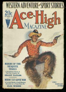 ACE-HIGH MAGAZINE 1st FEB 1928-WESTERN & SPORTS PULP VG/FN