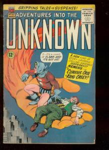 ADVENTURES INTO THE UNKNOWN #163 1966-FLAMING HAND COVR VG