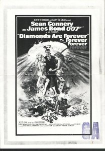 Diamonds Are Forever Studio Stamped Poster Proof Sheet 1971-Sean Connery-Size...
