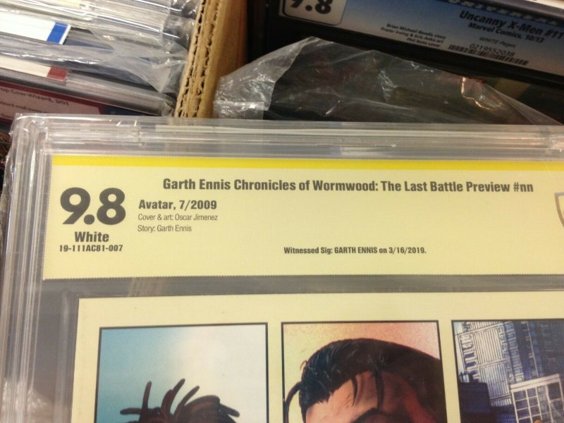 Chronicles of Wormwood: The Last Battle Preview CBCS 9.8 signed by Garth Ennis