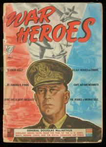 WAR HEROES #1 1942-DELL COMIC--GEN MACARTHUR COVER-WWII FR