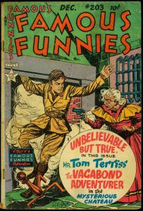 Famous Funnies #203 1952- Vagabon Adventurer- HC Kiefer Incomplete POOR