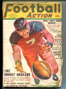 FOOTBALL ACTION-#3-FALL 1941-PULP-GEORGE GROSS COVER-good