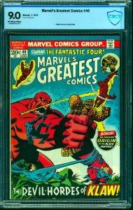 Marvel's Greatest Comics #40 CBCS VF/NM 9.0 Off White to White