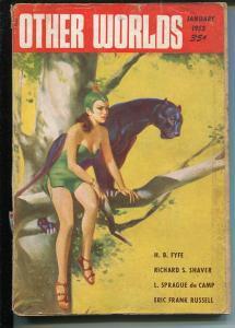 Other Worlds 1/1953 Clark Pub-sci-fi pulp-HW McCauley Good Girl Art- Russell-FR