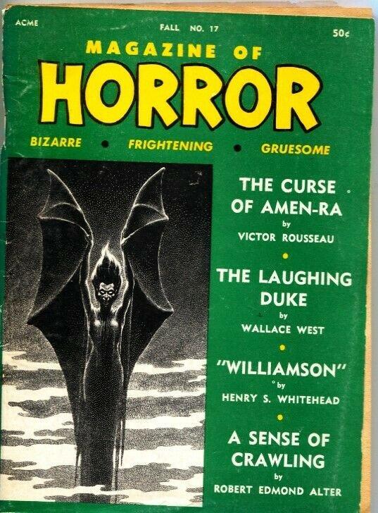 MAGAZINE OF HORROR-BIZARRE-GRUESOME-PULP-ROBERT E HOWARD-FALL 1967