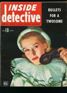 INSIDE DETECTIVE FEB 1945-CLOWN COVER-TRUE CRIME- FN/VF