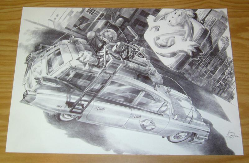 Ghostbusters Ecto-1 original art - unpublished art commissioned by 88MPH