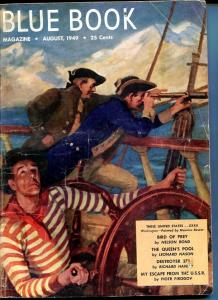 BLUE BOOK PULP-AUG 1949-VG/FN-BOWER COVER-REEVE-NELSON BOND-SURDEZ VG/FN