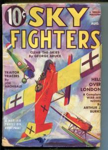 SKY FIGHTERS 8/1935-AIR WAR PULP-WWI-BI-PLANE-THRILLS-ARTHUR J BURKS-vg minus