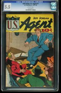 JEFF JORDAN U.S. AGENT #1-CGC 5.5- GOLDEN AGE-SOUTHERN STATES 1161205012