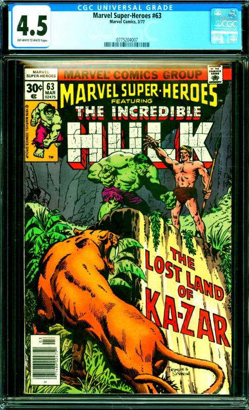 Marvel Super Heroes #63 CGC Graded 4.5 Featuring The Incredible Hulk