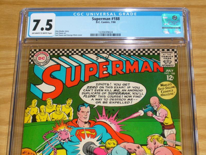 Superman #188 CGC 7.5 silver age dc comics - superman - curt swan 1966