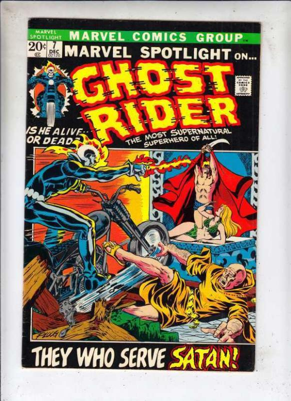 Marvel Spotlight 7 Ghost Rider 3rd! strict FN/VF 7.0 1972  They Who Serve Satan!