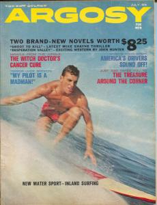 Argosy 7/1964-Popular Pubs-pulp fiction-surfboard cover-Mexican crime-VG/FN