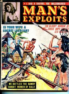 Man's Exploits 3/1964-Natlus-cheesecake-torture-terror-Anaconda Cultists-VG