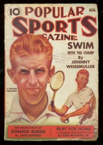 POPULAR SPORTS AUG 1938-JOHNNY WEISSMULLER-TENNIS--PULP VG