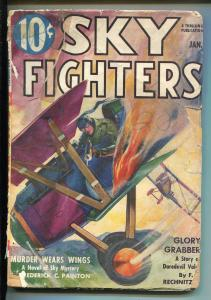 SKY FIGHTERS 1/1938-AIR WAR PULP-THRILLS-FLAMING BI-PLANE COVER-good