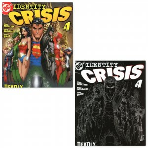 IDENTITY CRISIS #1 with 2nd Printing B&W Sketch Michael Turner DC Comics 2004